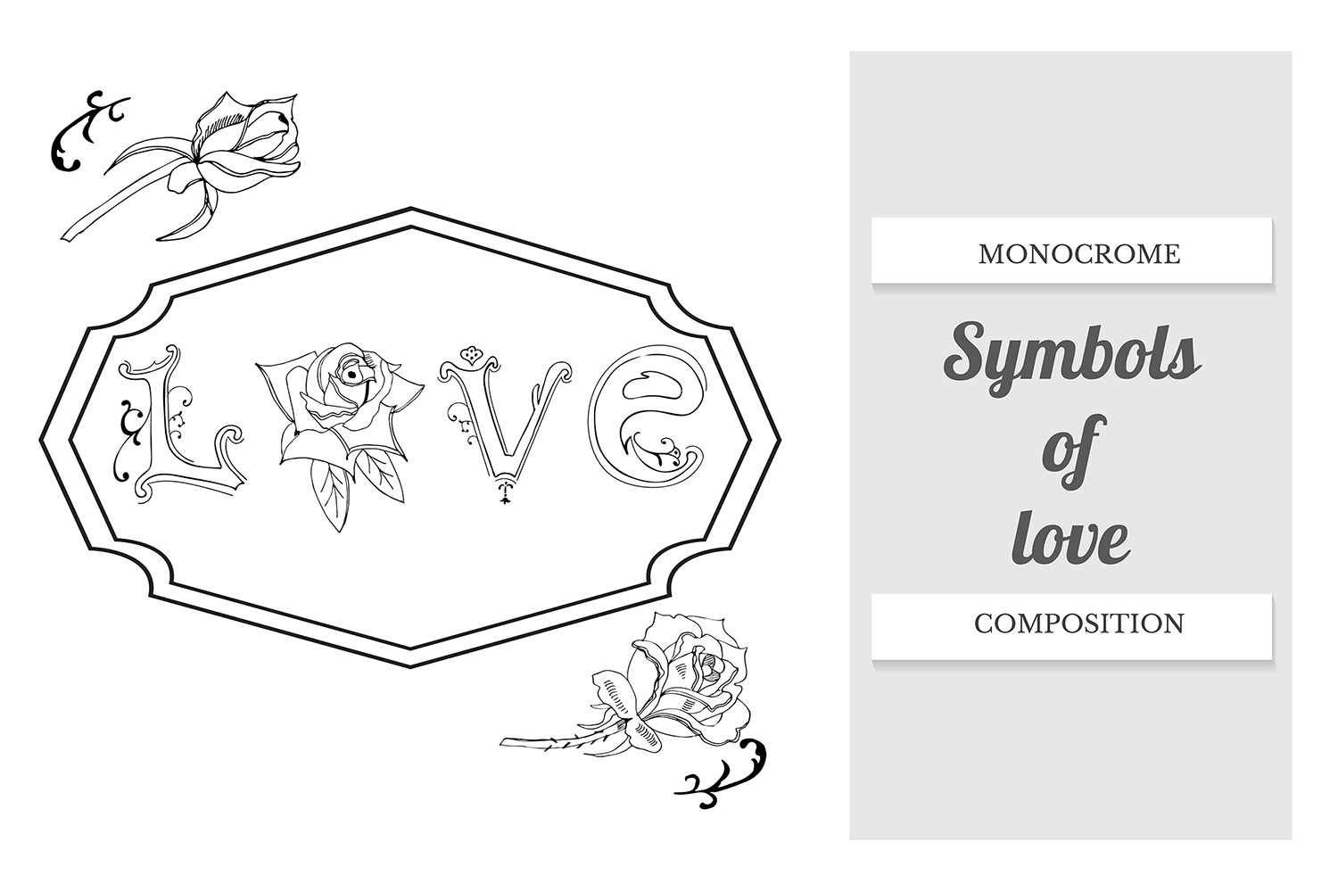 Hand drawn set of letters, roses and frame. Vector. example image 2