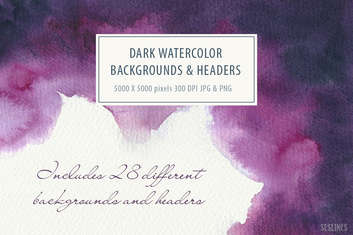 Dark Watercolor Backgrounds & Headers example image 4