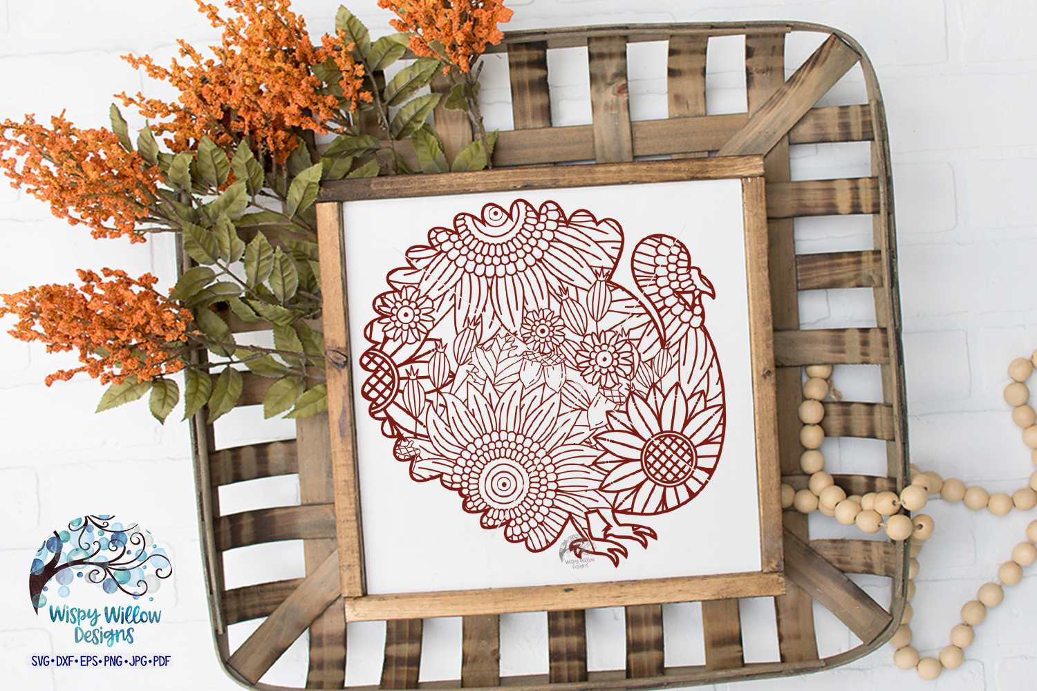 Turkey Zentangle SVG|Thanksgiving SVG | Fall SVG Cut File example image 2