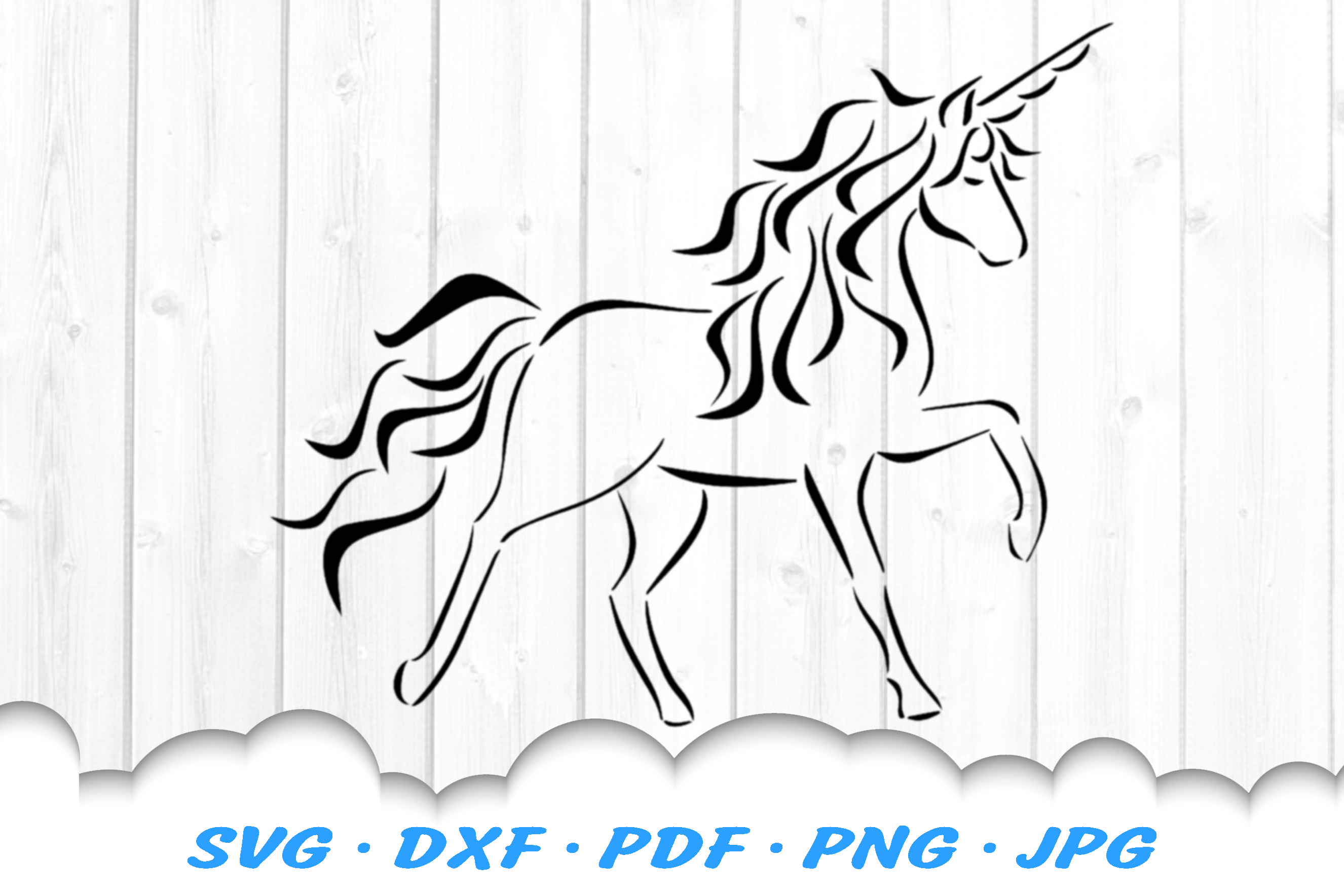 Tribal Unicorn SVG DXF Cut Files example image 2