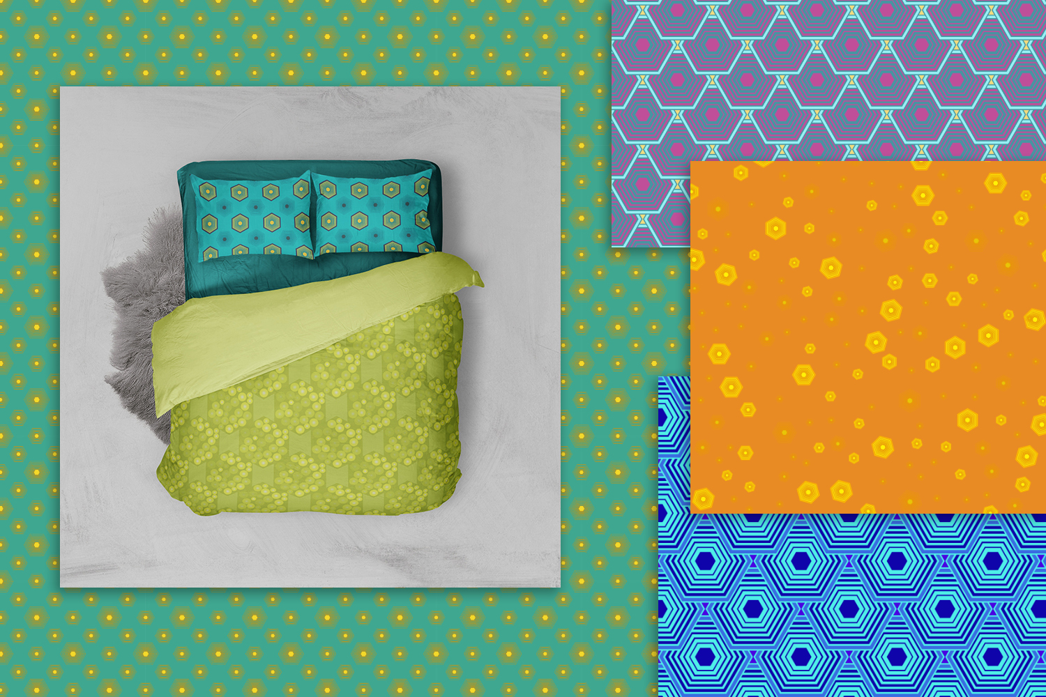 24 bright hexagons seamless patterns example image 4