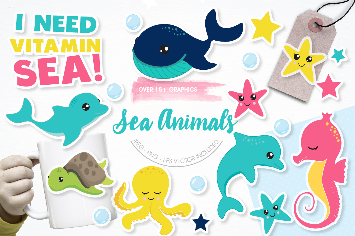 Sea animals graphics and illustrations example image 1