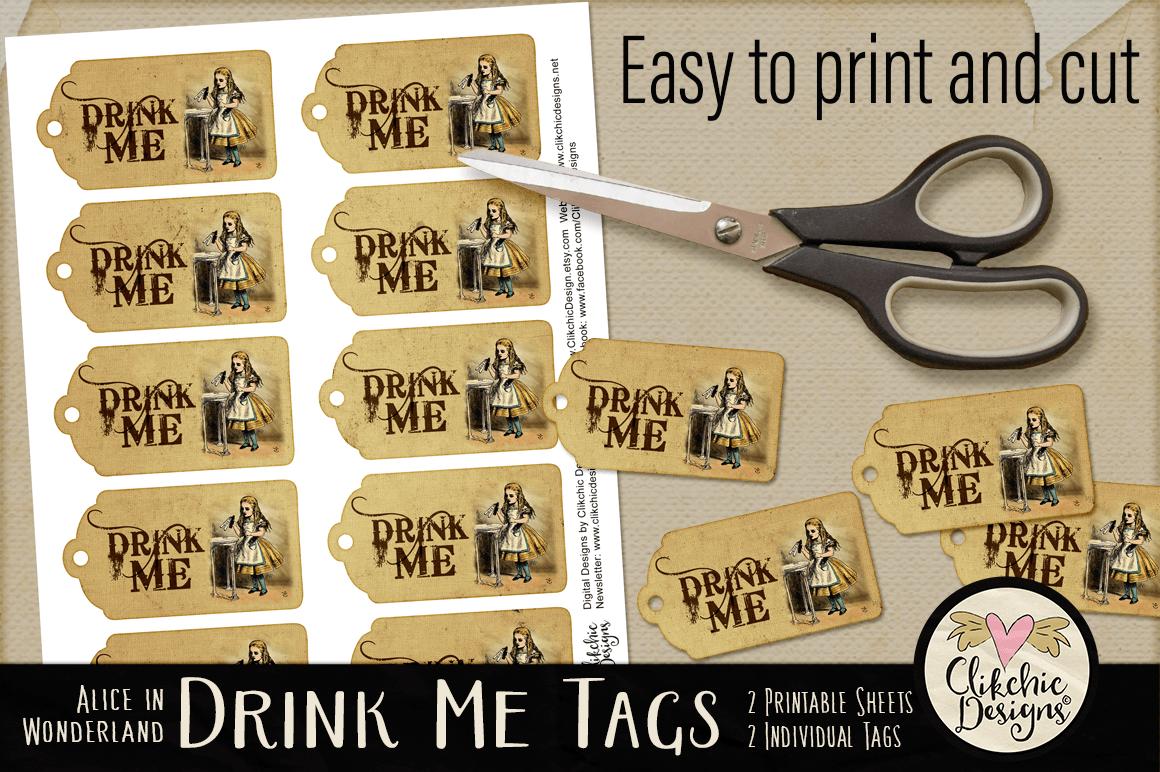 Alice In Wonderland Drink Me Printable Tags Example Image 3
