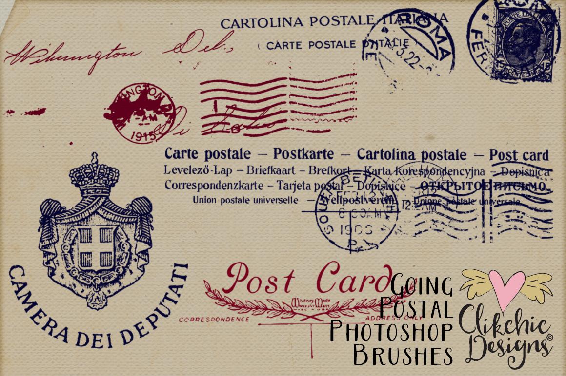 Going Postal Vintage Postage Marks Photoshop Brushes example image 5