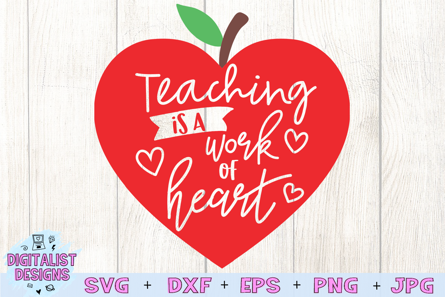 teacher svg, teaching is a work of heart, apple example image 2