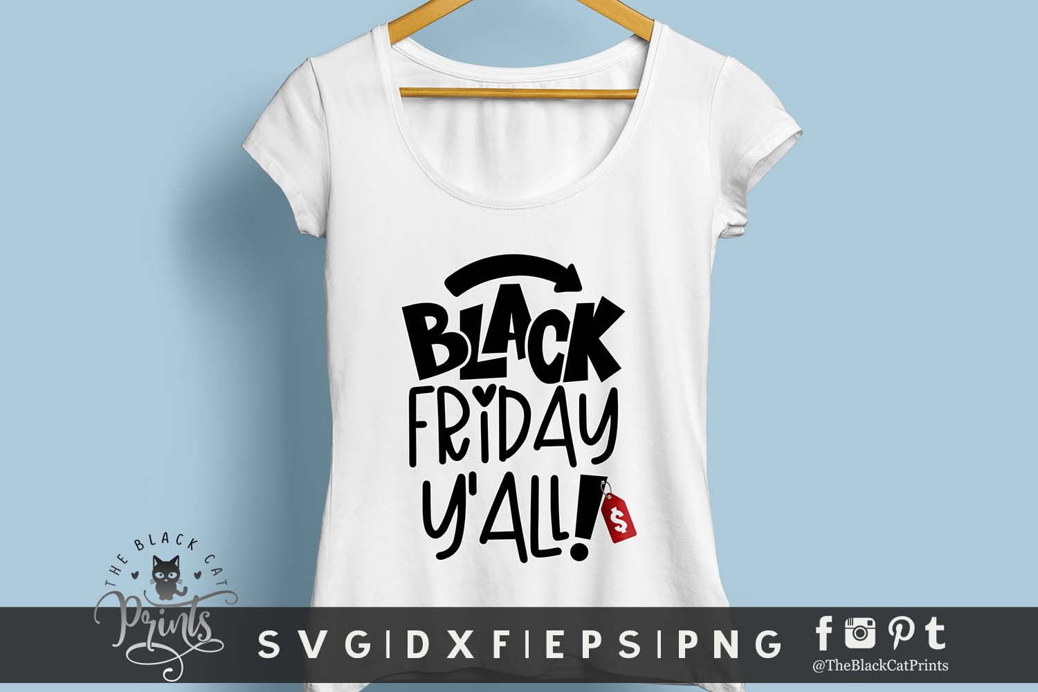 Black Friday Y'all! SVG DXF EPS PNG Funny Shopping svg example image 2
