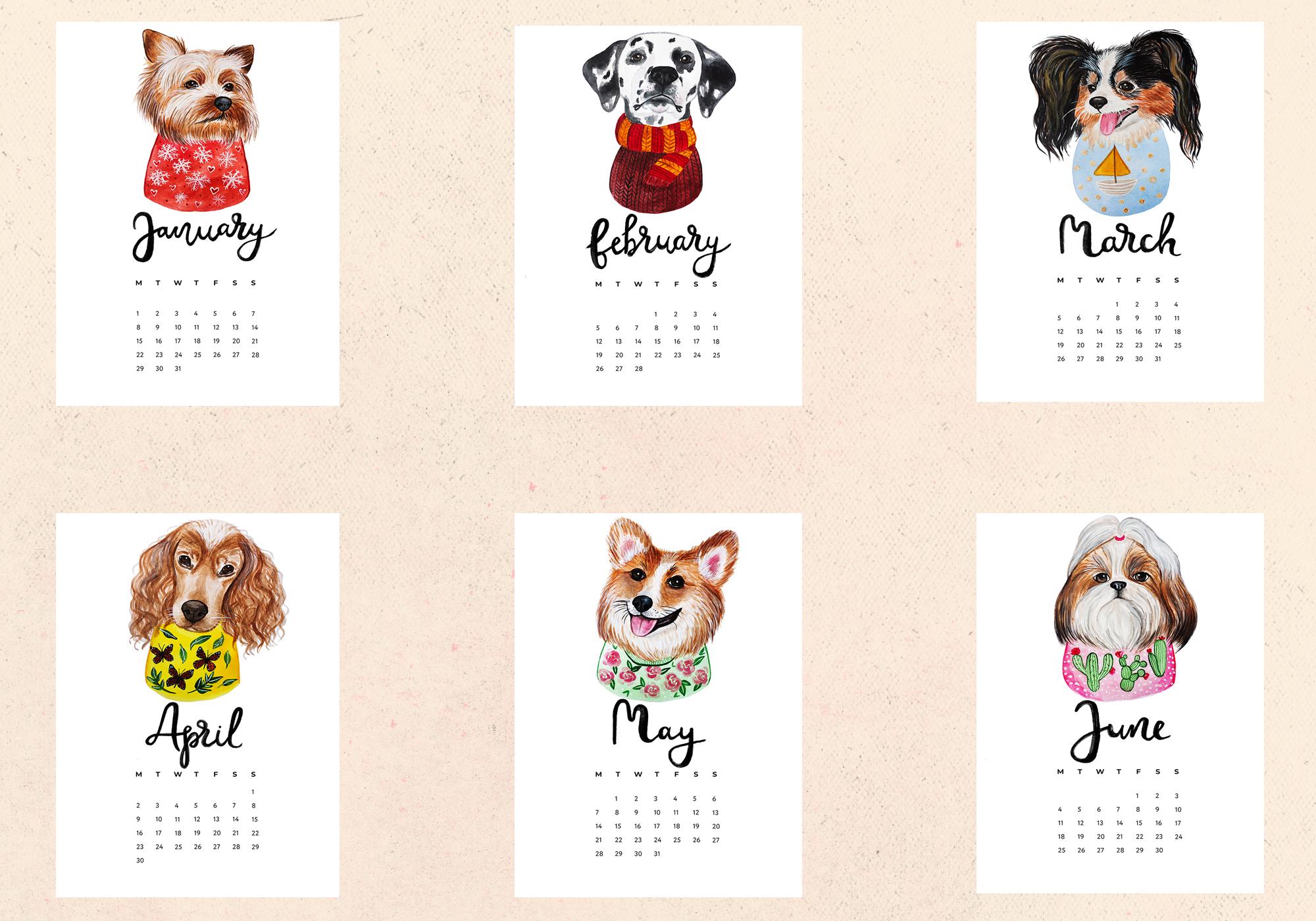 Watercolor Cute Dogs+Calendar example image 4