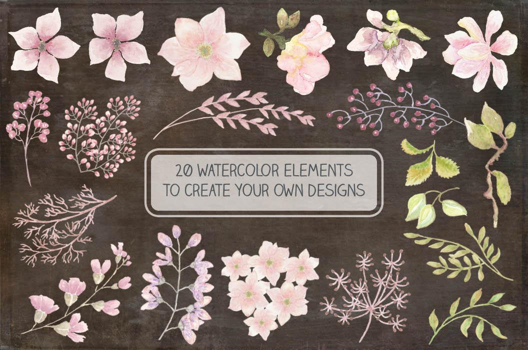 Wedding clip art bundle in blush Magnolias II example image 3