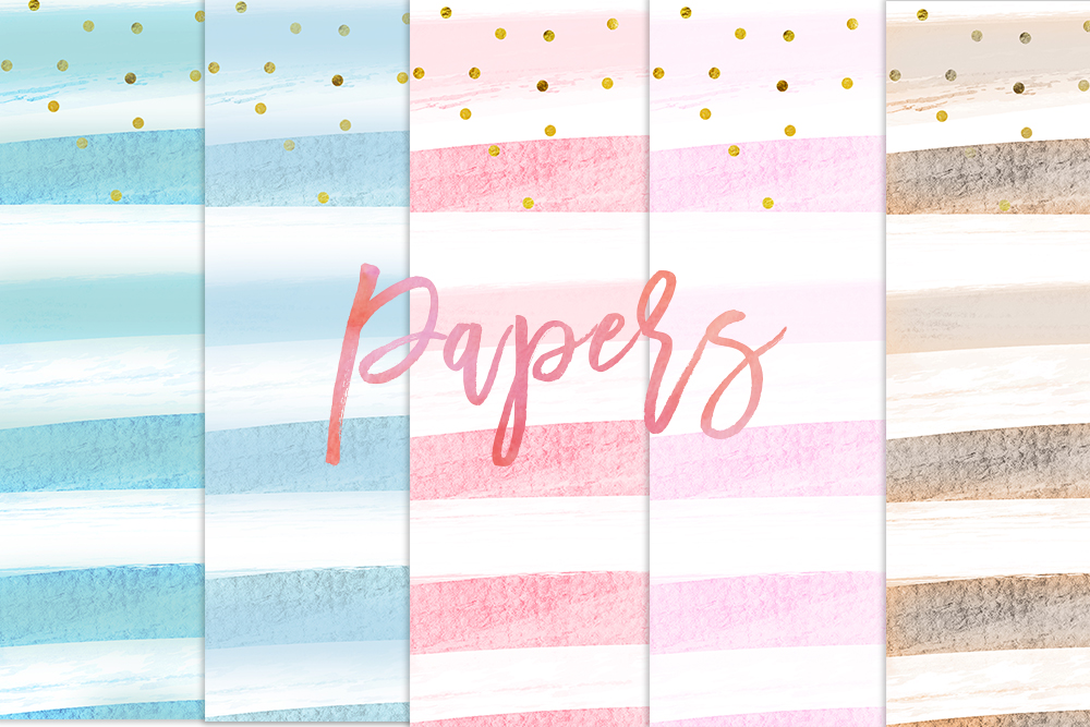 Watercolour Stripes Digital Papers example image 1