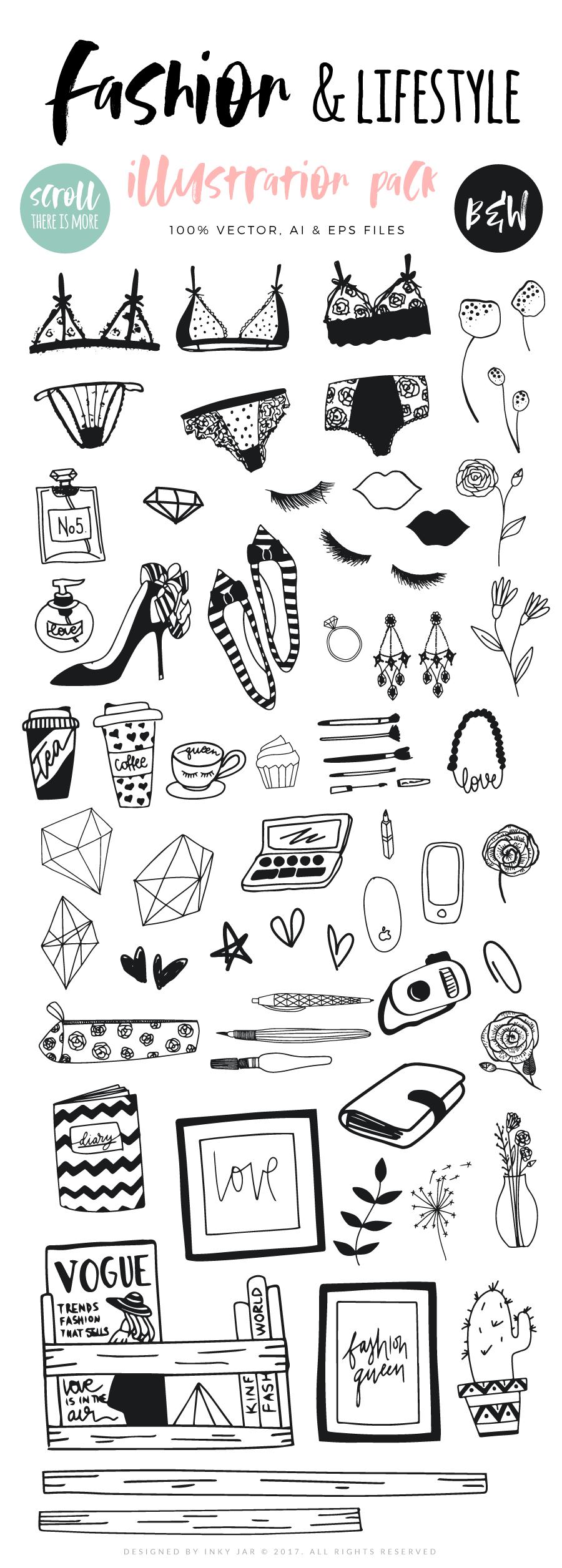 Fashion/Lifestyle illustration pack example image 4