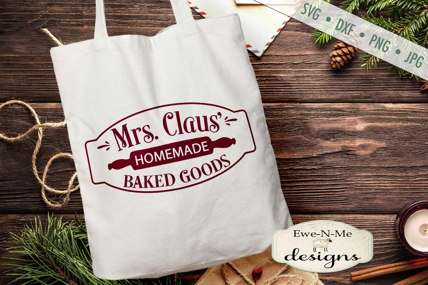 Mrs Claus' Baked Goods - Christmas - Rolling Pin - SVG DXF example image 1
