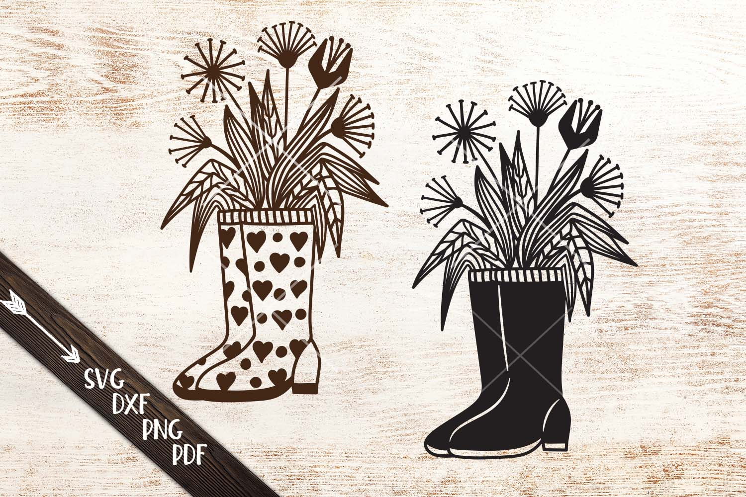 Wellies rain boots with flowers svg dxf cutting templates example image 1