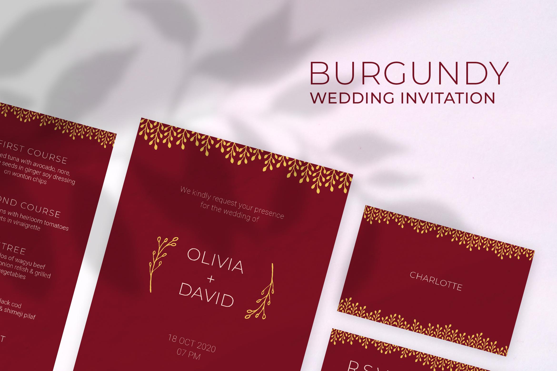 Burgundy Wedding Invitation example image 1