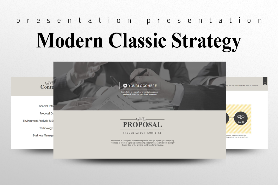 Modern Classic Strategy Proposal PowerPoint example image 1