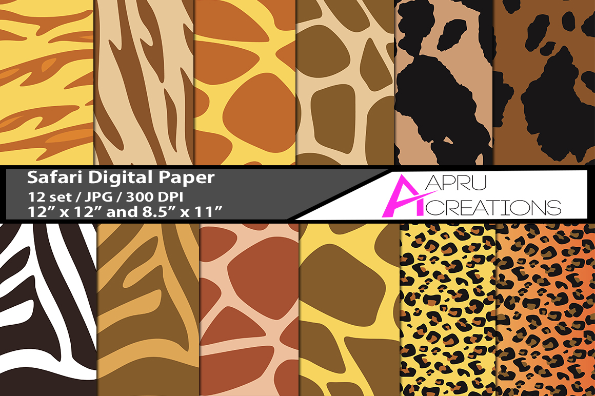 safari  digital papers, safari pattern, digital papers, high quality 300 dpi, 12 x 12 inch , and 8.5 x 11 inch example image 1