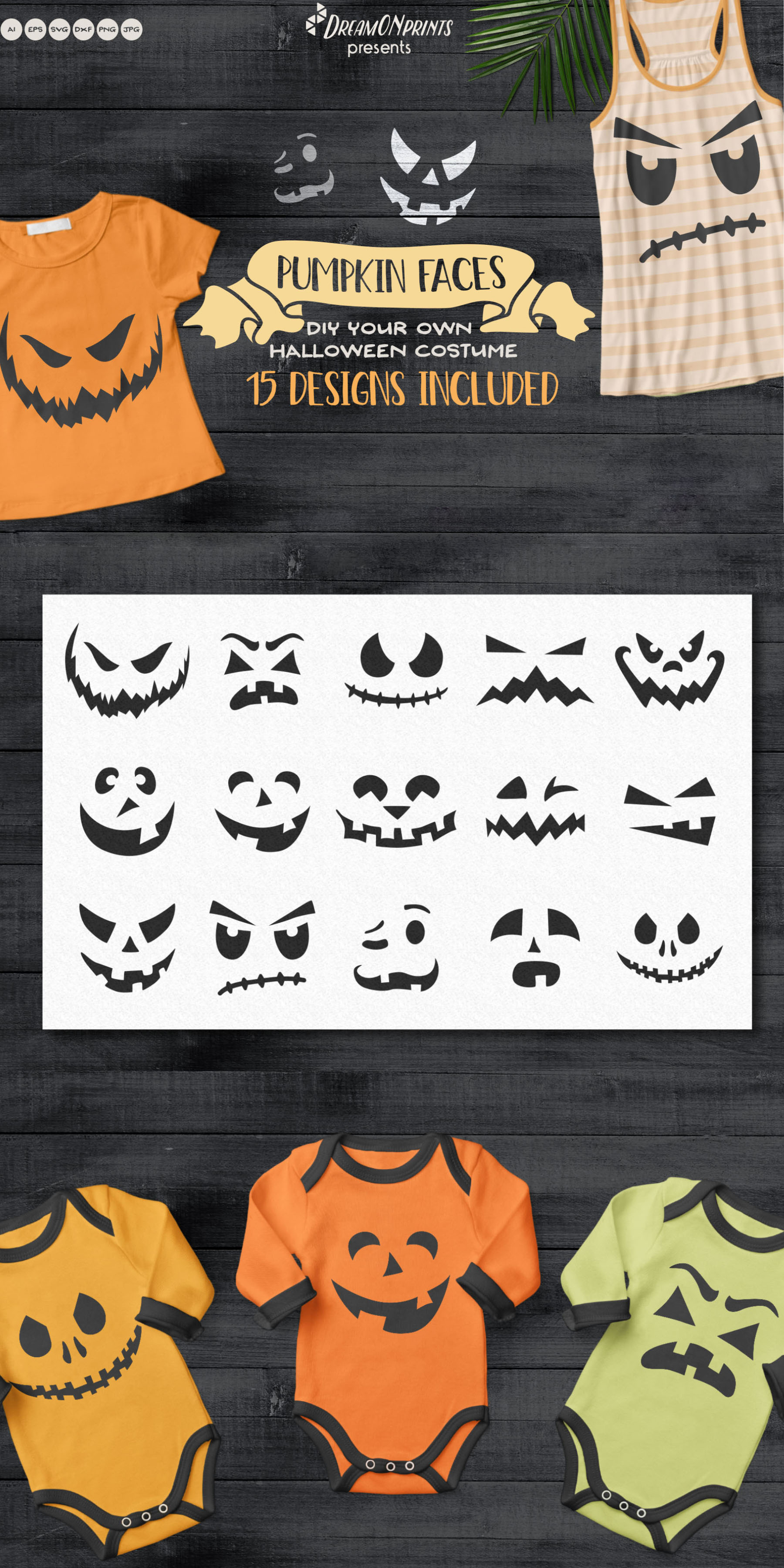 Pumpkin Faces | Funny Halloween SVG Cut files example image 3