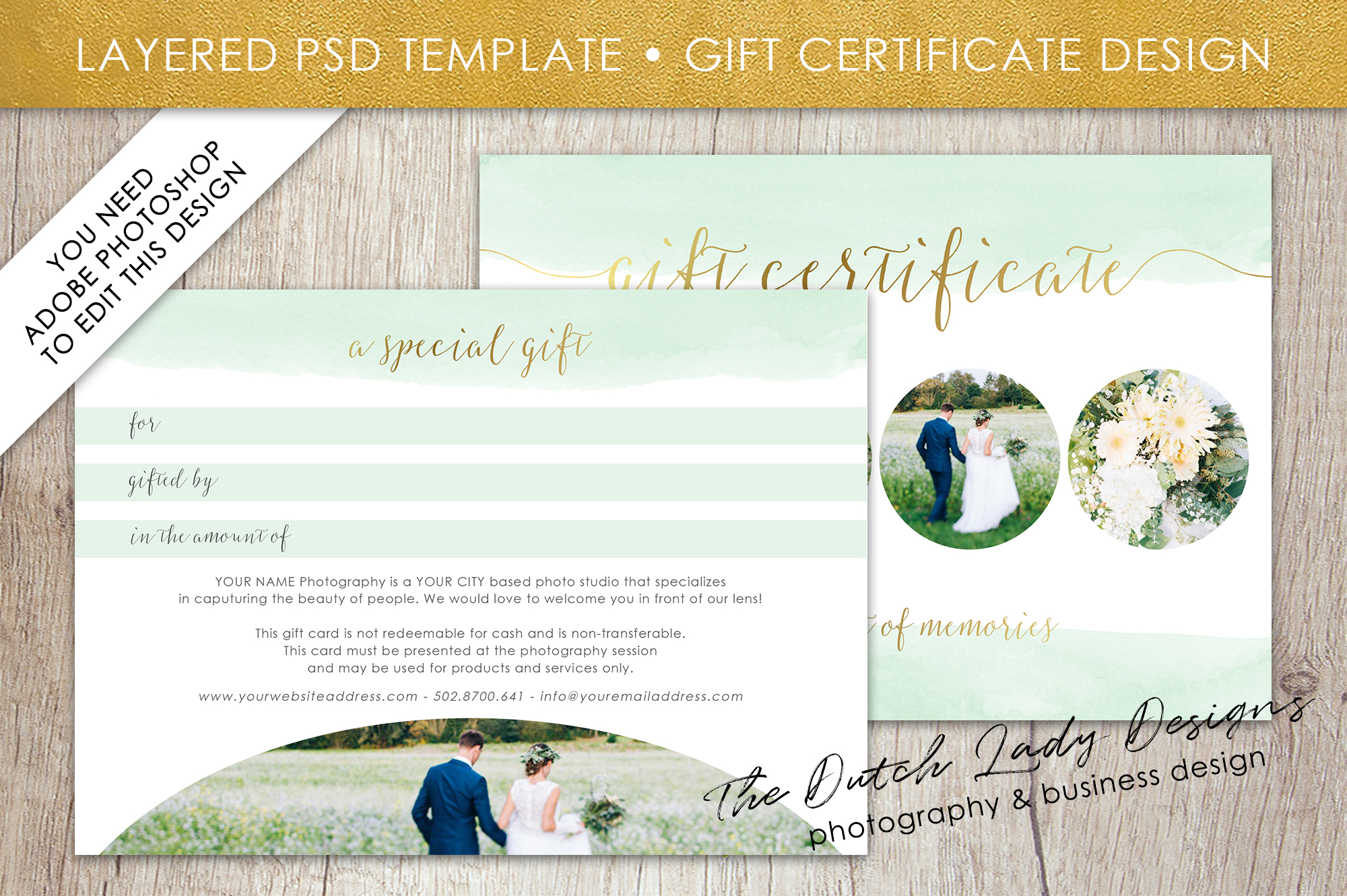 Photo Gift Card Template for Adobe Photoshop - #52 example image 2