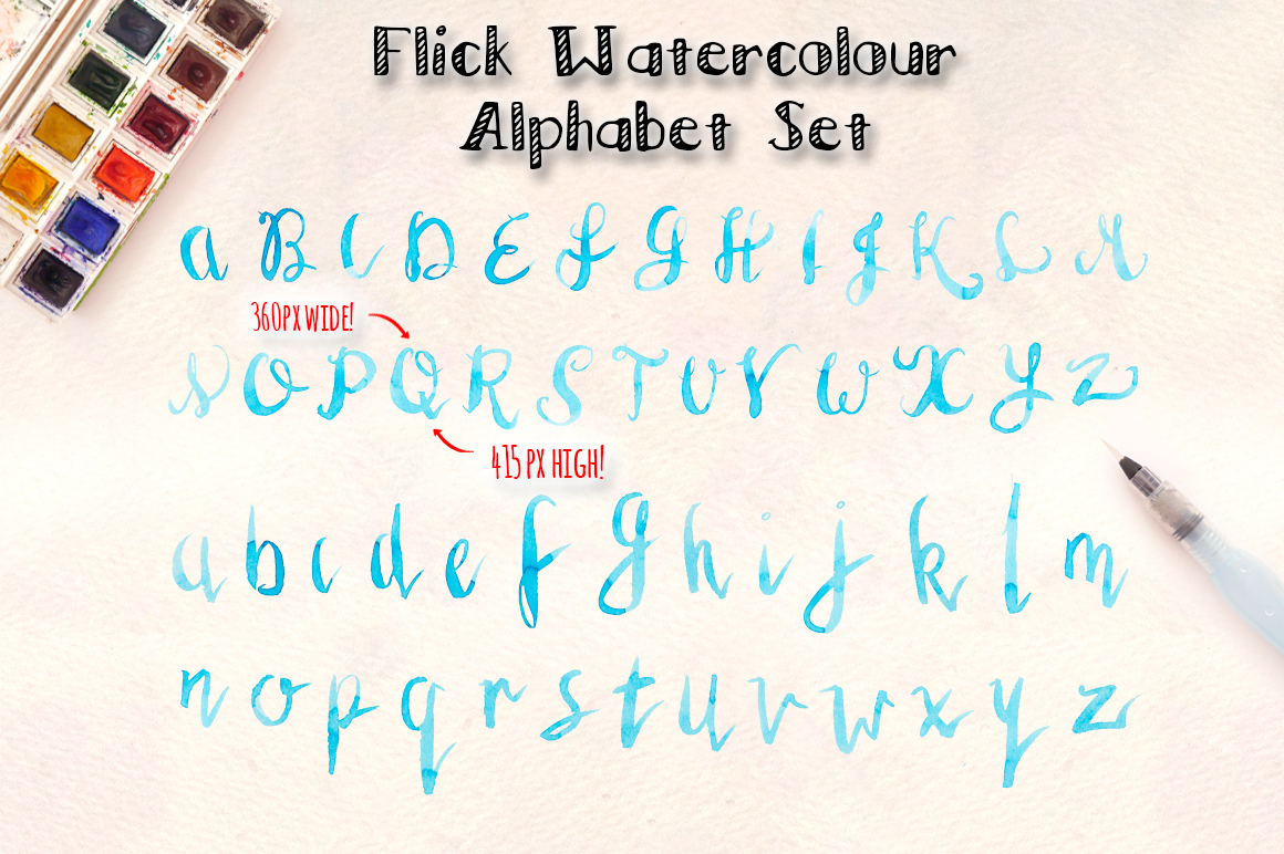 3 Watercolor Alphabet Brush Sets example image 5