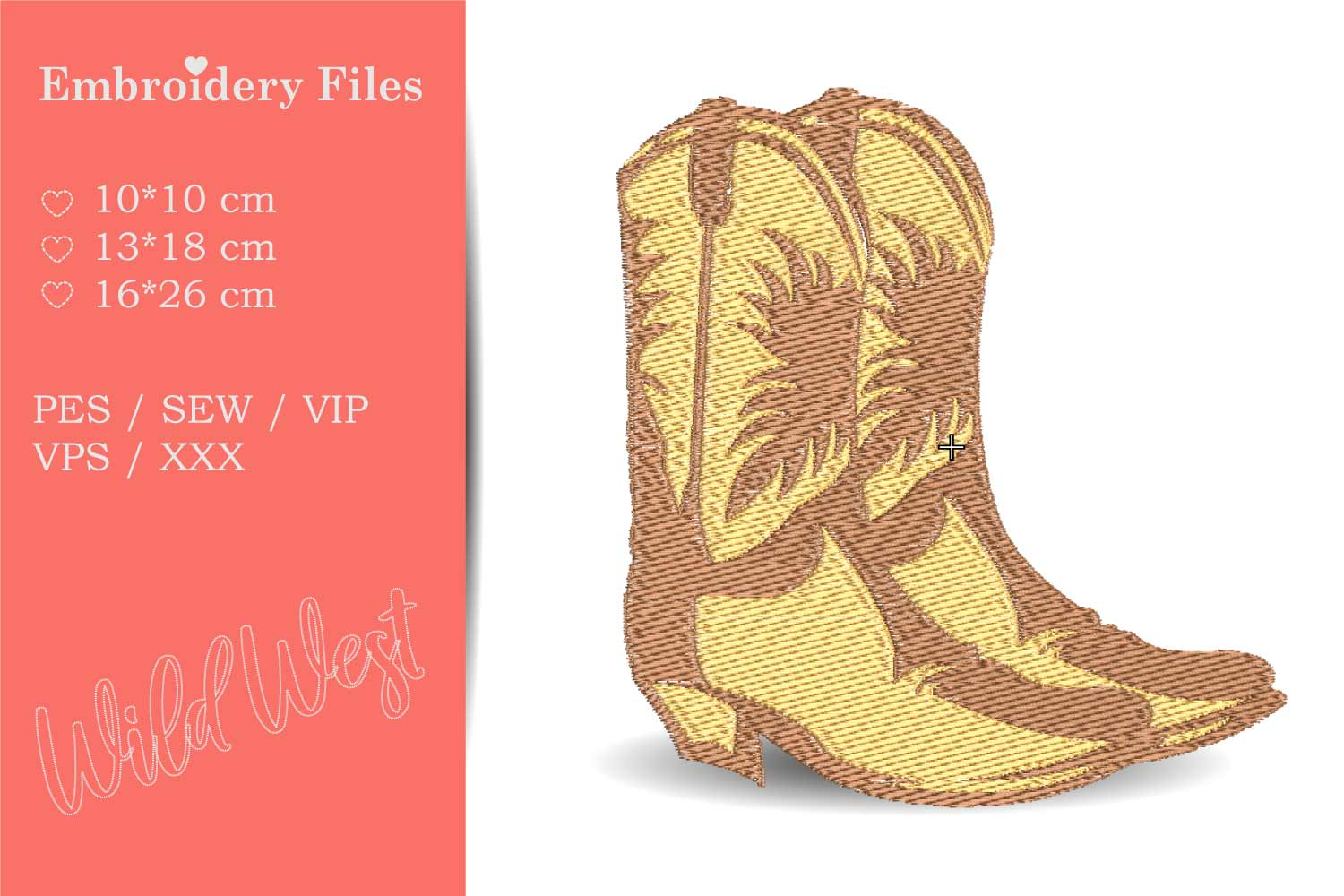 Cowboy Boots - Embroidery File for Beginners example image 1