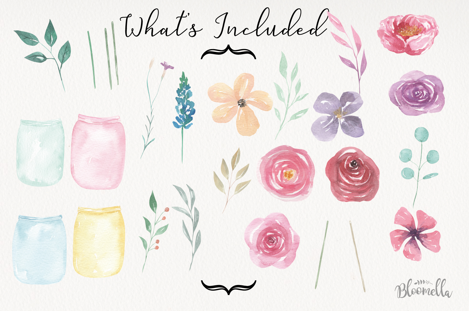 Watercolor Create Your Own - Flower Jars & Bouquets Floral example image 2