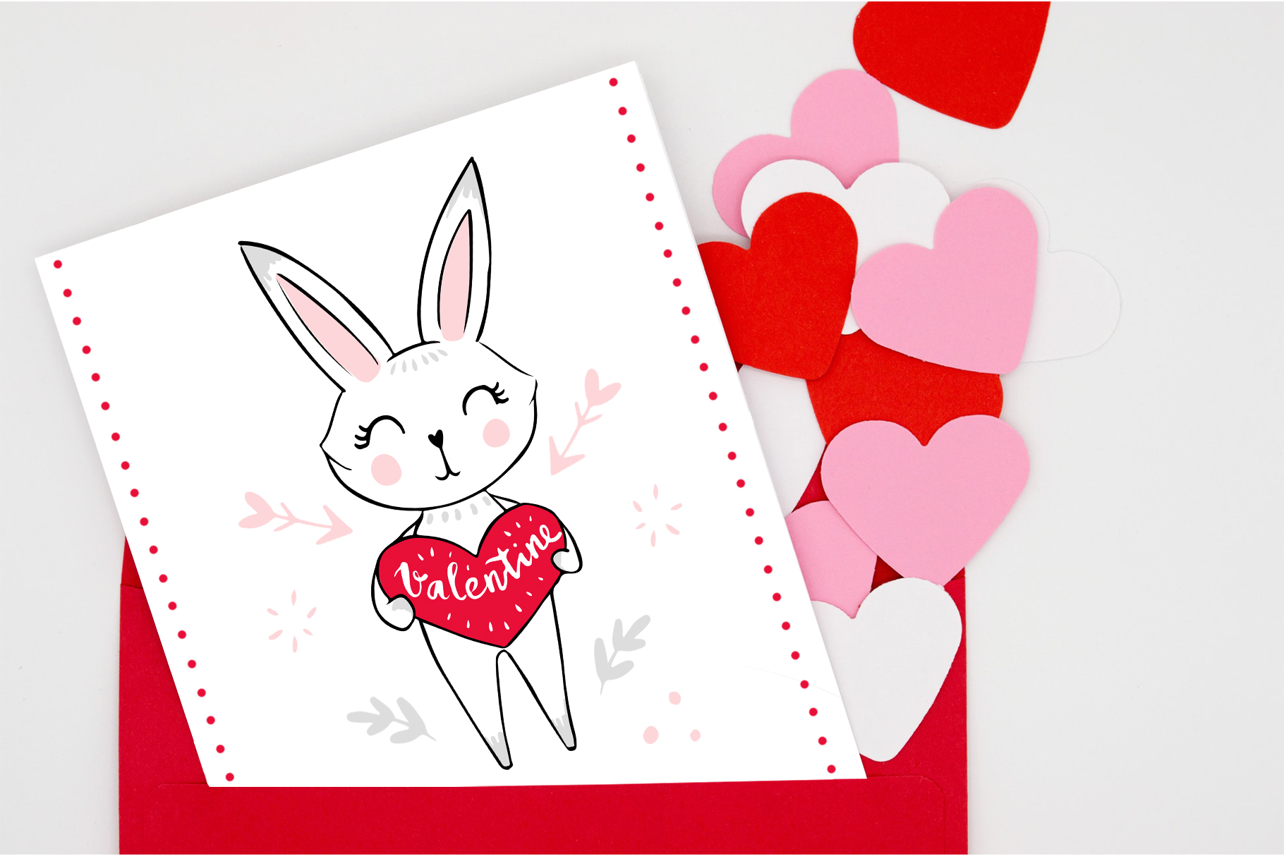 Happy Valentine's Day. Cute bunnies example image 2