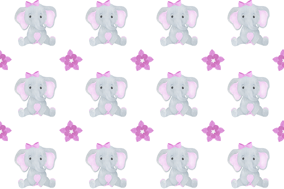 Set of illustrations of a cute little watercolor elephant example image 12