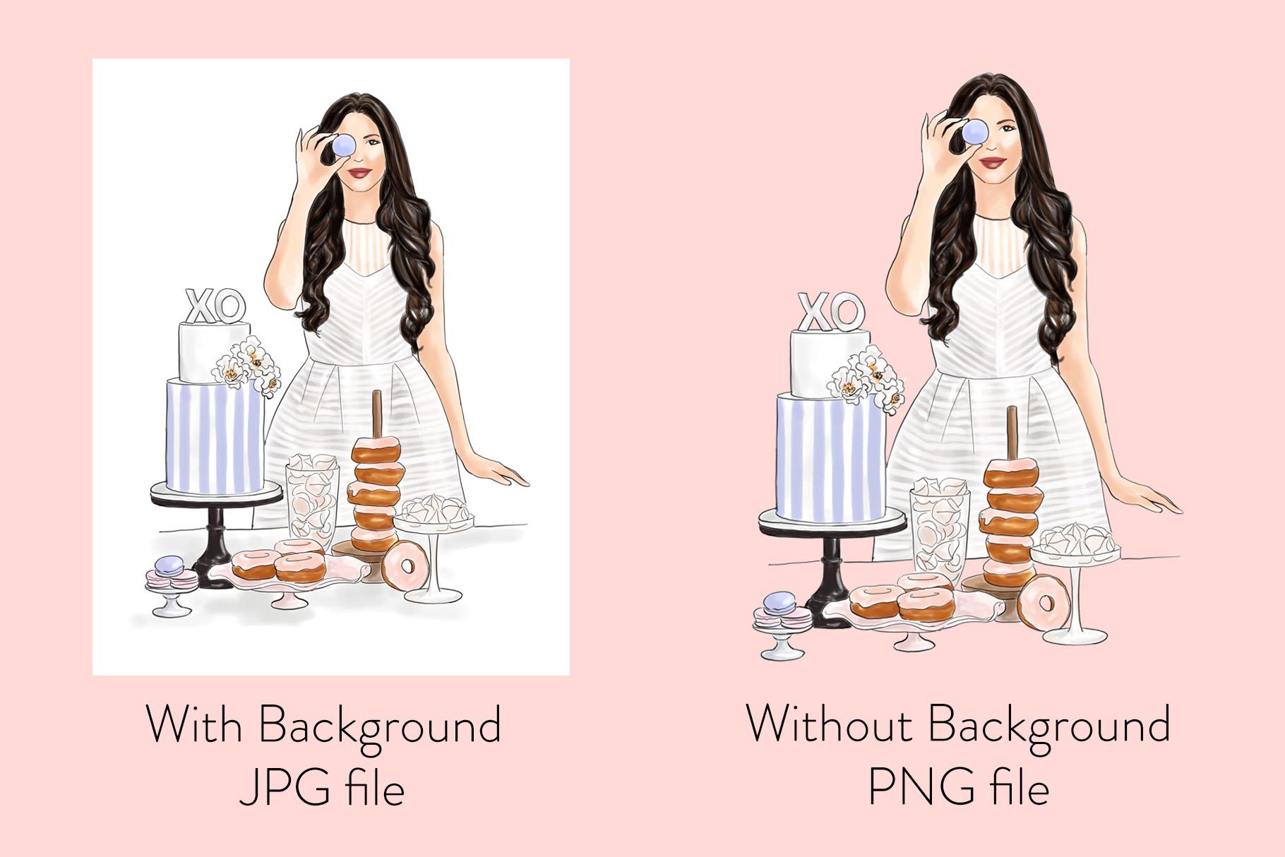 Fashion illustration - Baker Girl - Light Skin example image 2