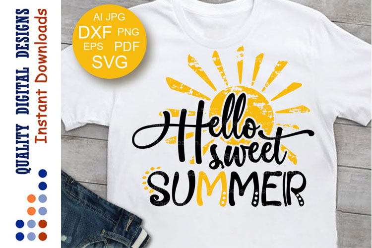 Hello sweet Summer svg files saying Cruise Sea Vacation example image 1