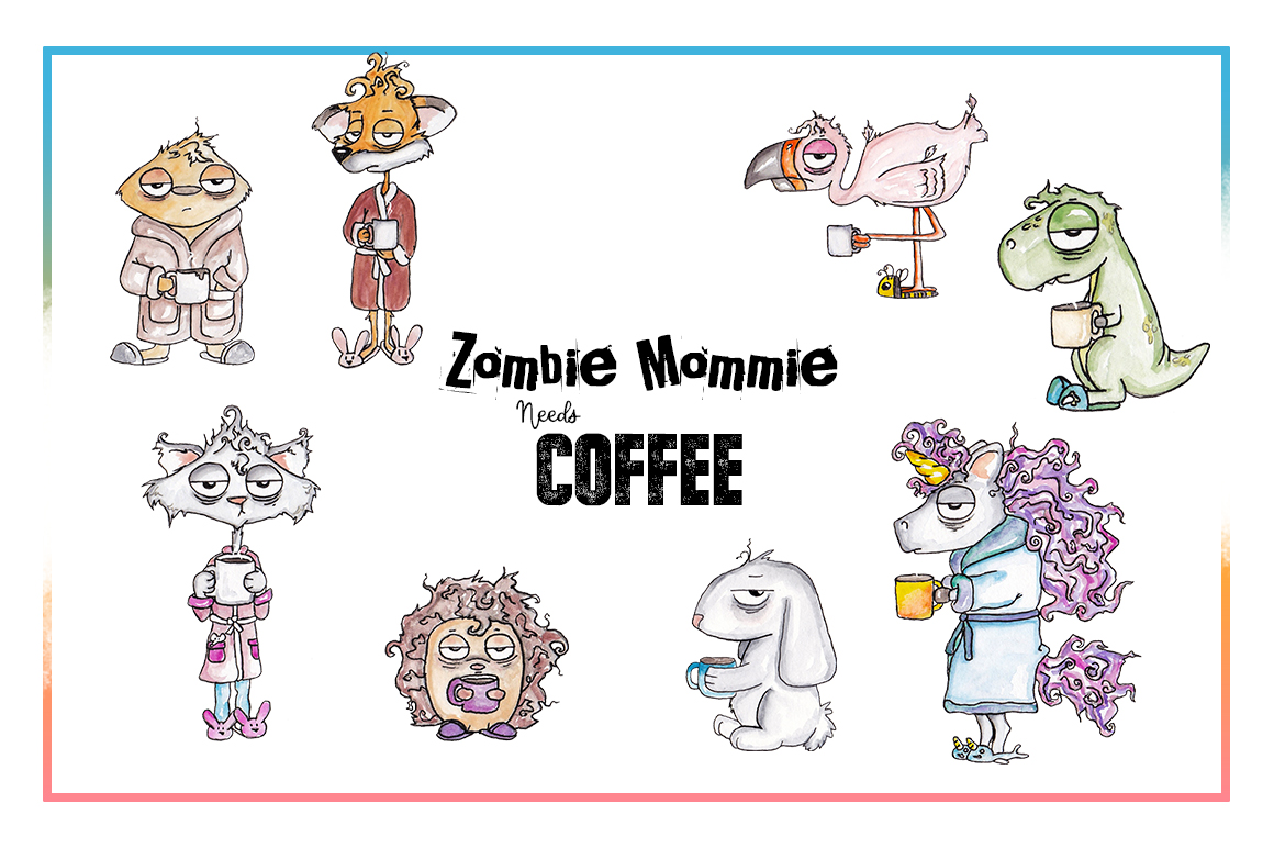 Coffee Clipart, Sublimation, Zombie, Mombie, PNG, Unicorn example image 2