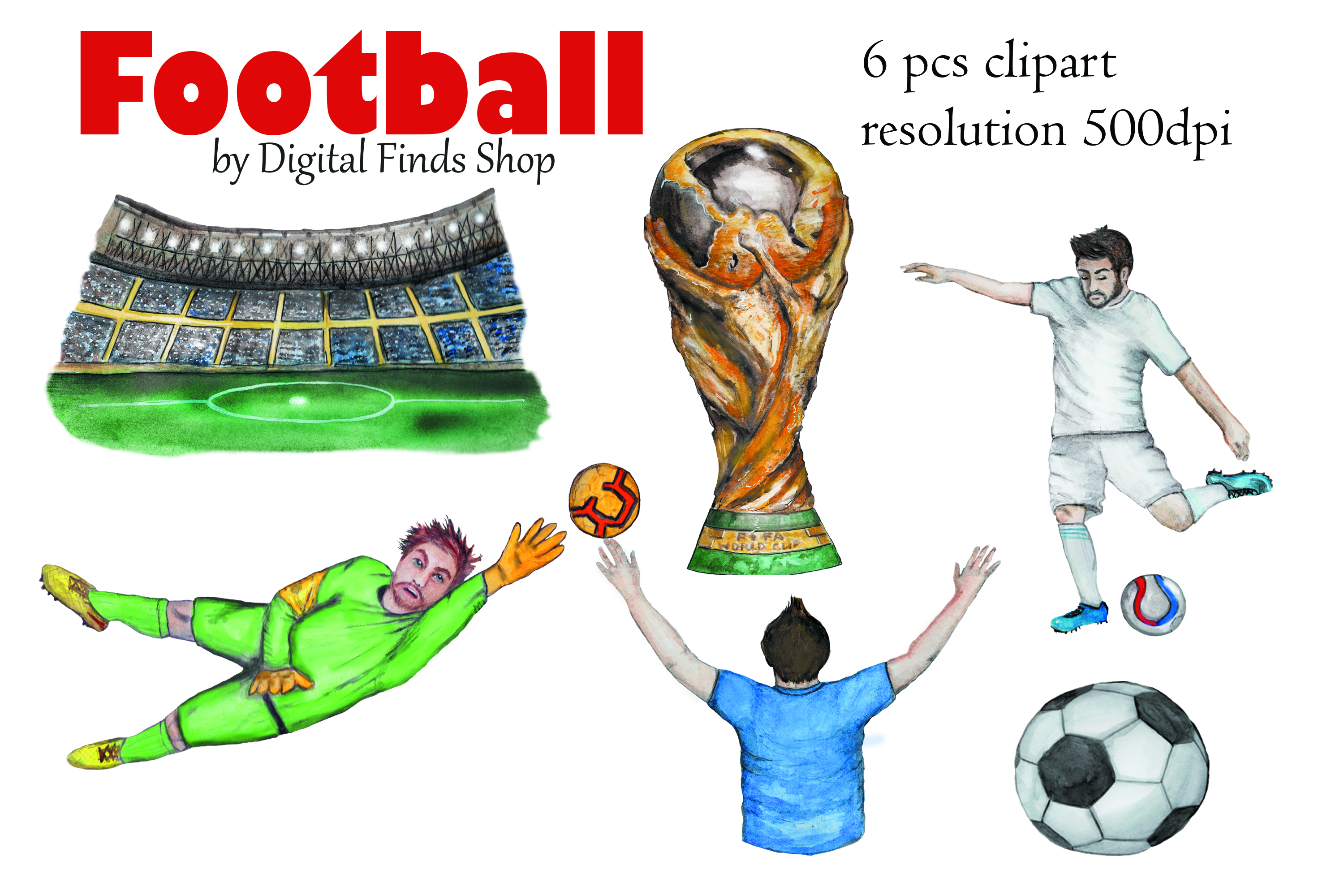 Football clipart, soccer clipart, sport watercolor clipart example image 6