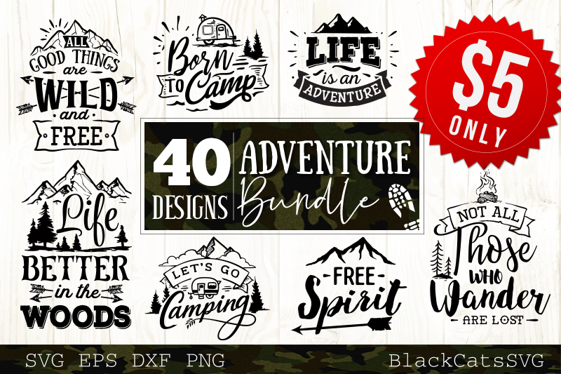 Adventure SVG bundle 40 designs Mountains SVG bundle example image 1