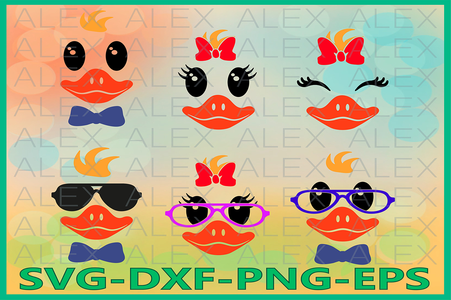 Duck faces Svg, Animals faces Svg, Girls Face svg example image 1