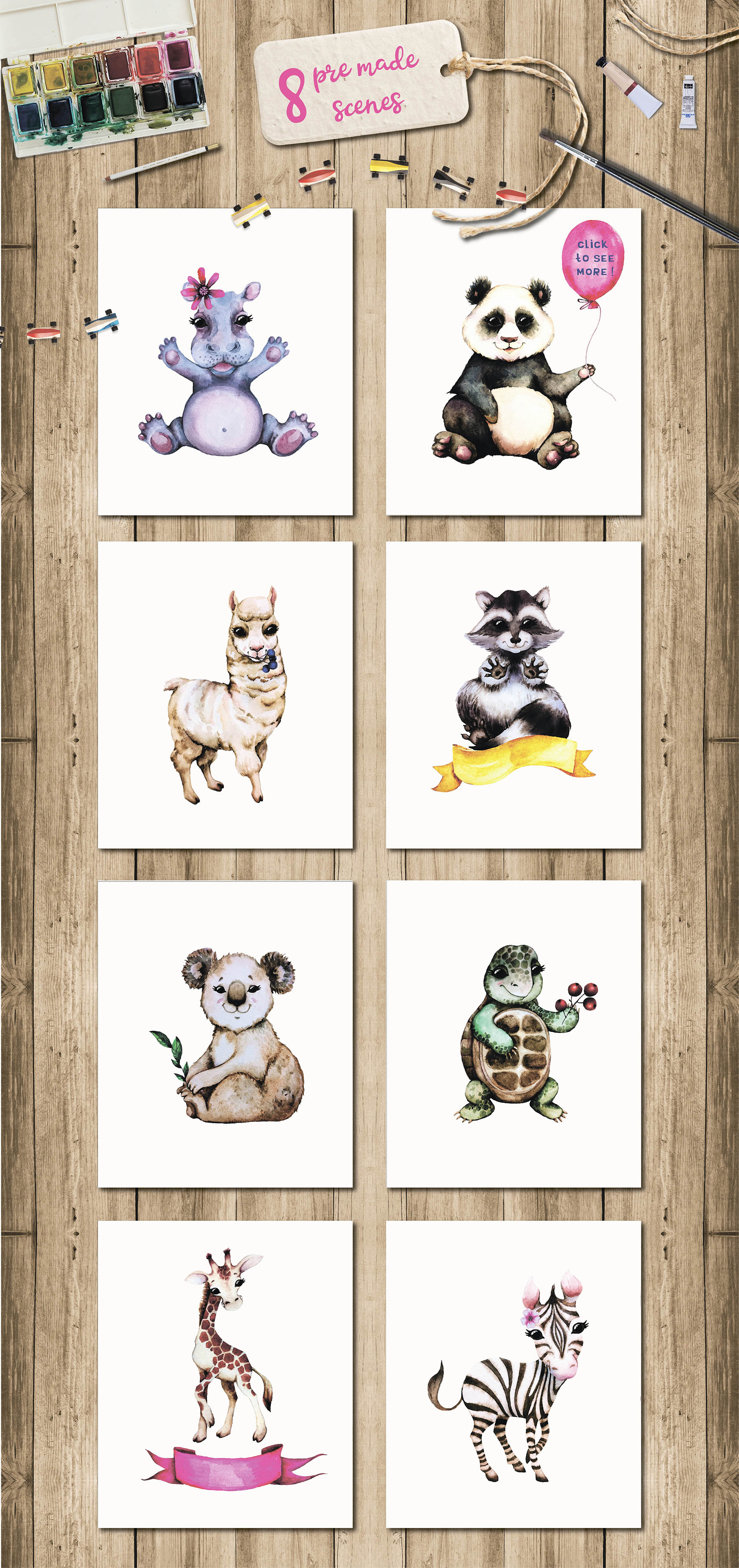 Baby animals. Cute watercolor zebra, hippo, lemur, tiger etc example image 4