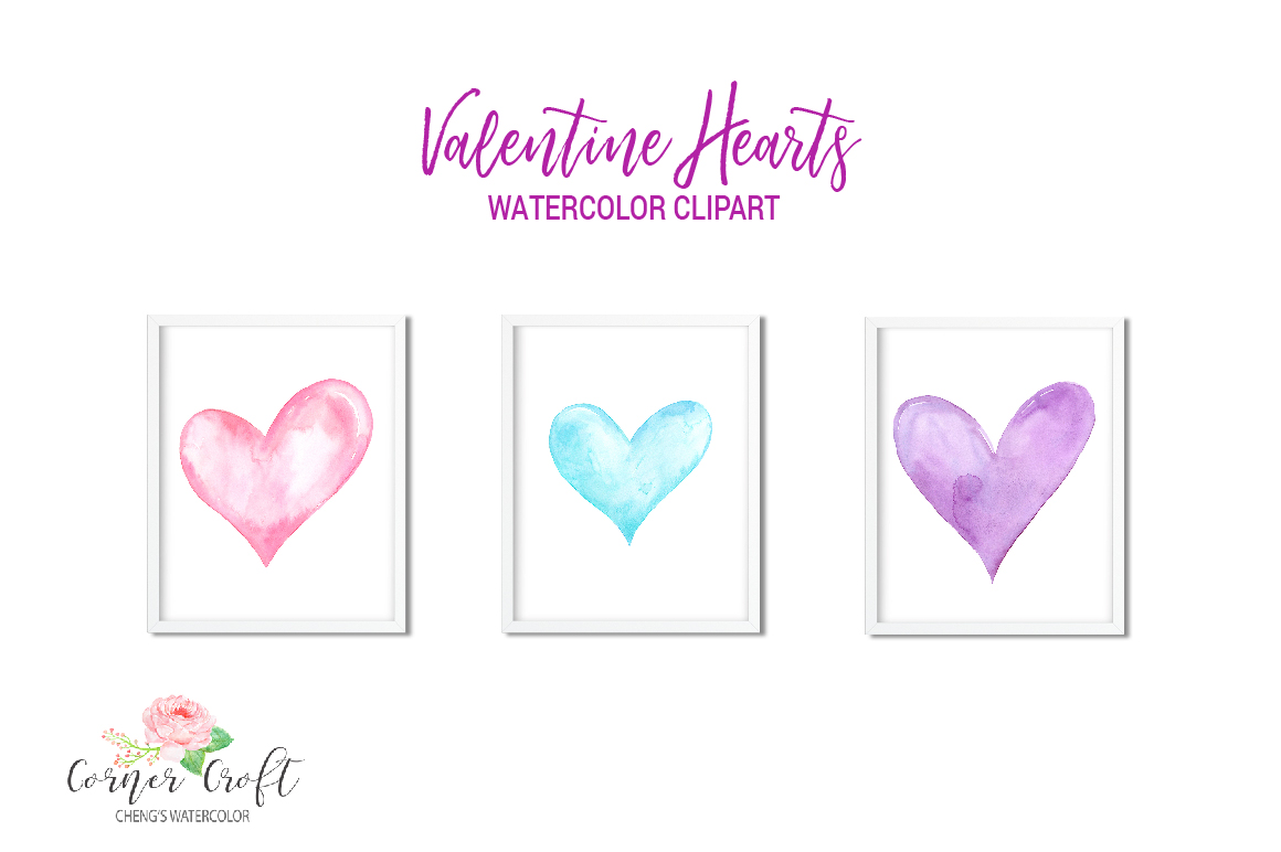 Watercolor Valentine Hearts Clipart example image 2