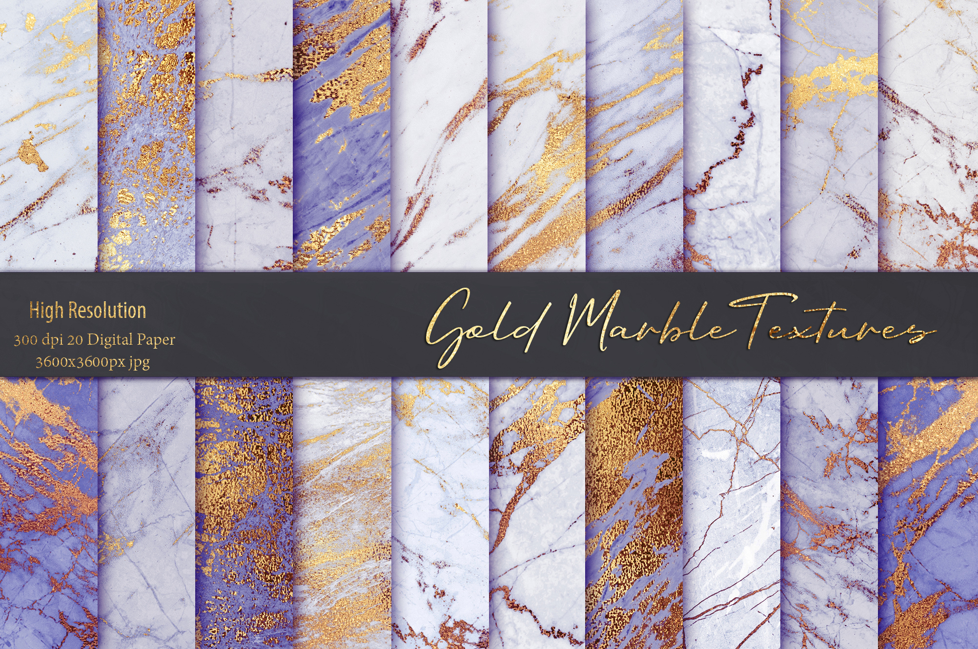 Purple and Gold Marble Textures example image 1