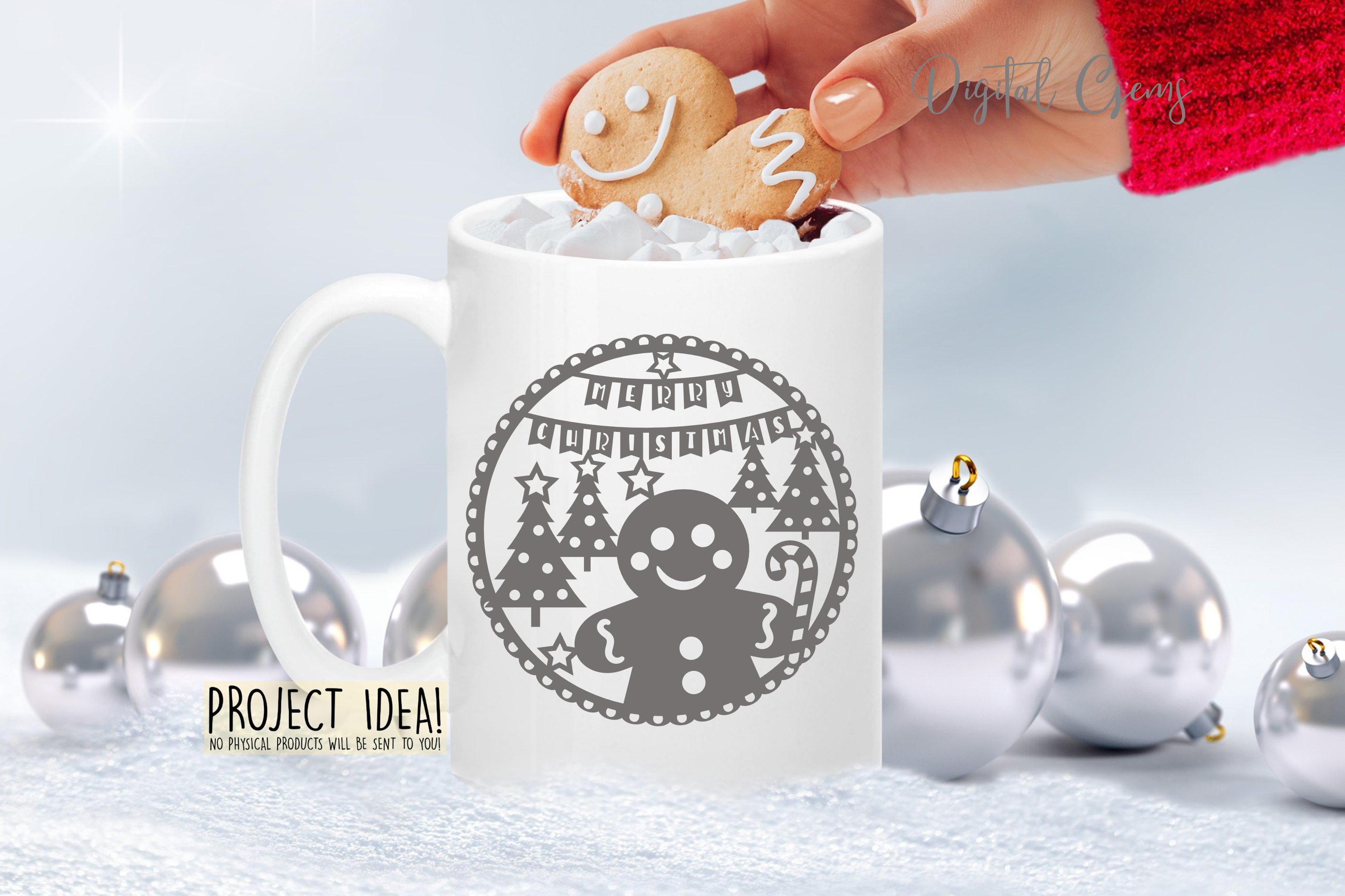 Christmas Gingerbread paper cut design SVG / DXF / EPS files example image 3