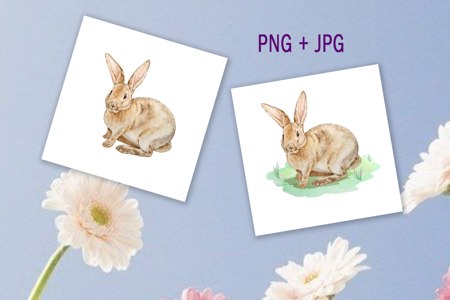 Watercolor Spring Rabbit Clipart Set example image 5