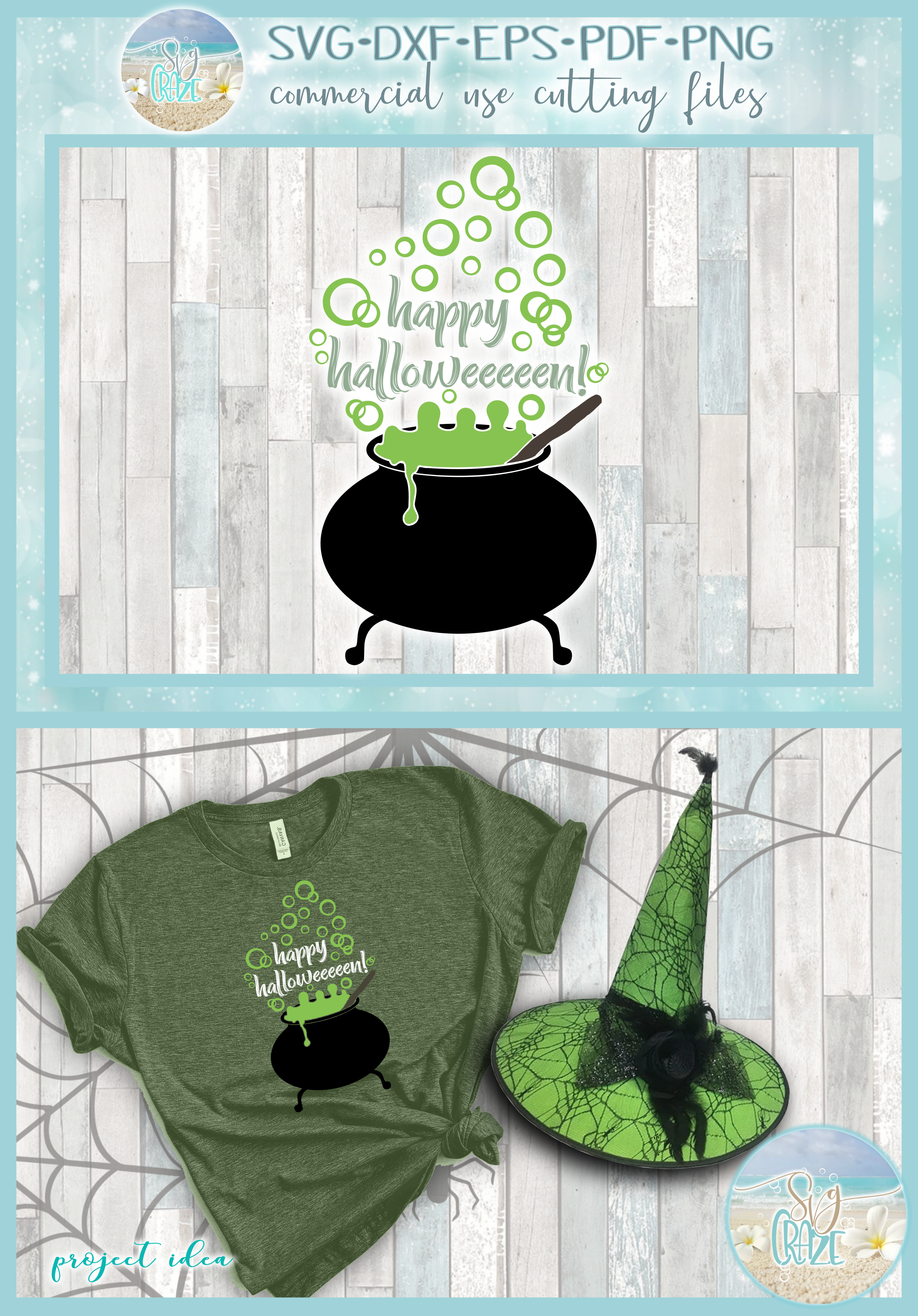Happy Halloween Quote Witch Cauldron Bubbles SVG example image 4