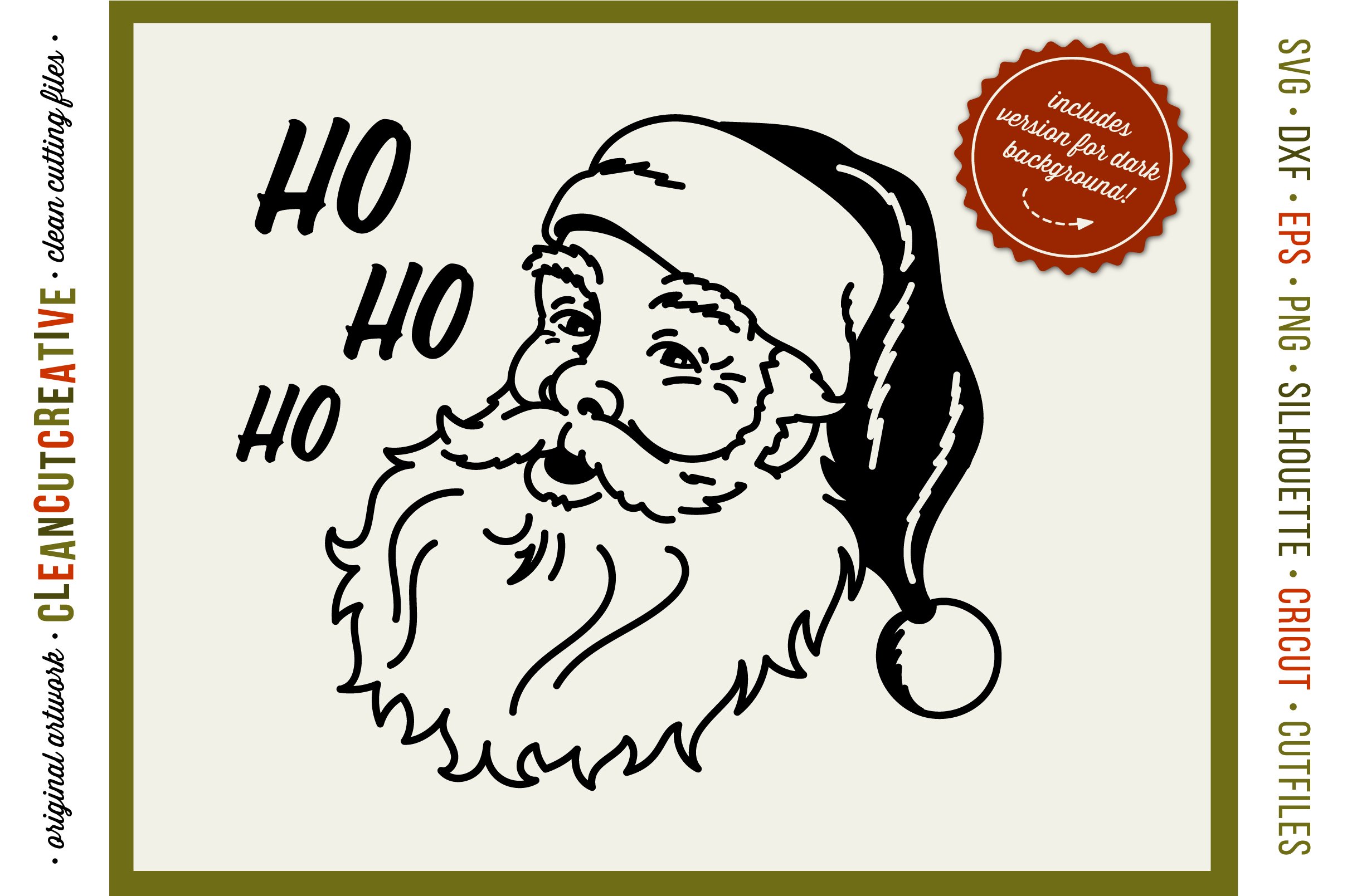 Ho Ho Ho Old School Santa Vintage Retro Santa Face Svg