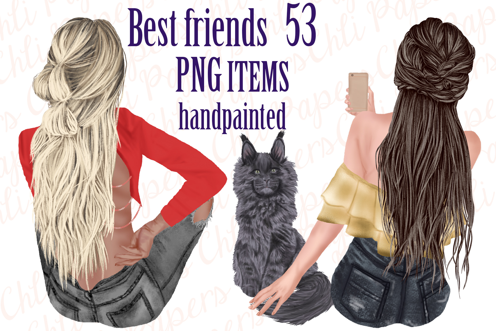 Best Friends Clipart,Girls and Cats, Fashion Girls clipart example image 1