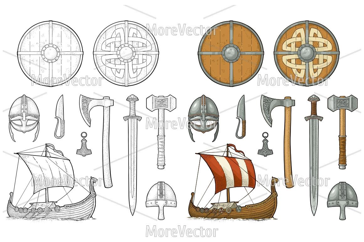 Set viking. Knife, drakkar, axe, helmet, sword, hammer, thor amulet with runes. example image 1