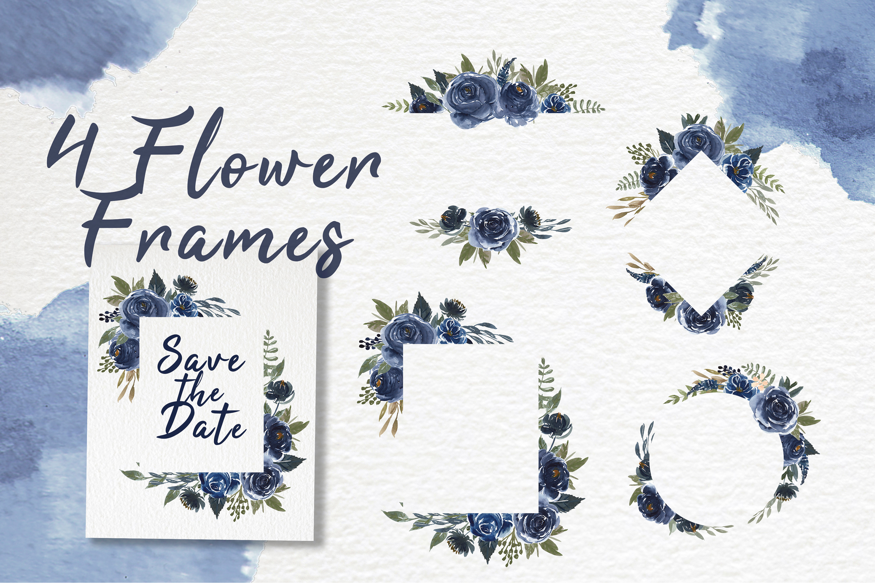 Navy Blue Flower Watercolor Clip-art example image 3