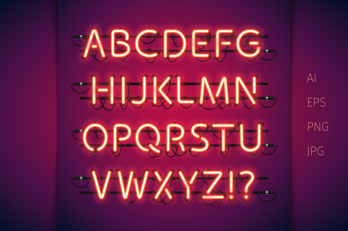 Red glowing neon type by voyslas shop design bundles red glowing neon type example image 2 thecheapjerseys Gallery