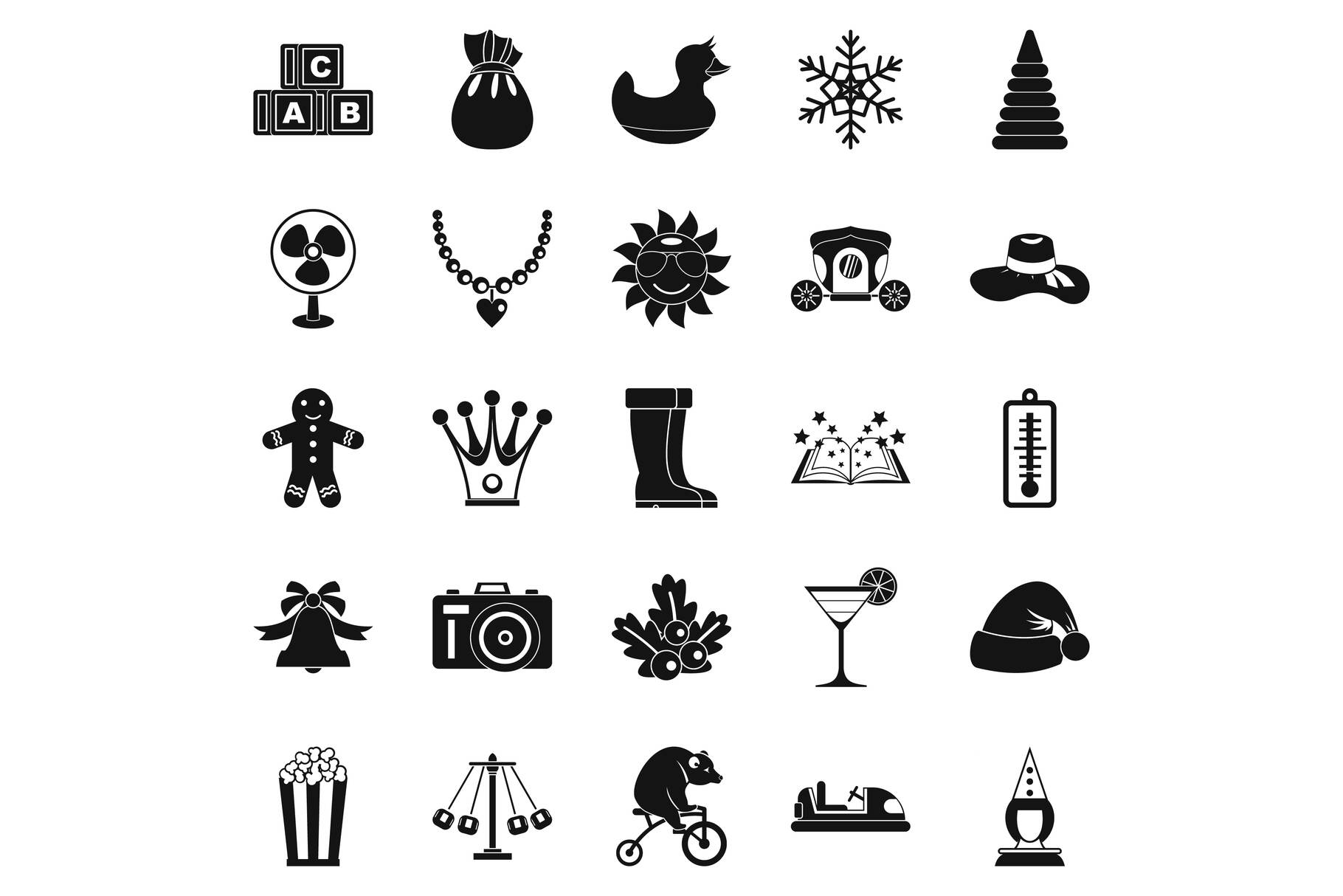 Guys icons set, simple style example image 1