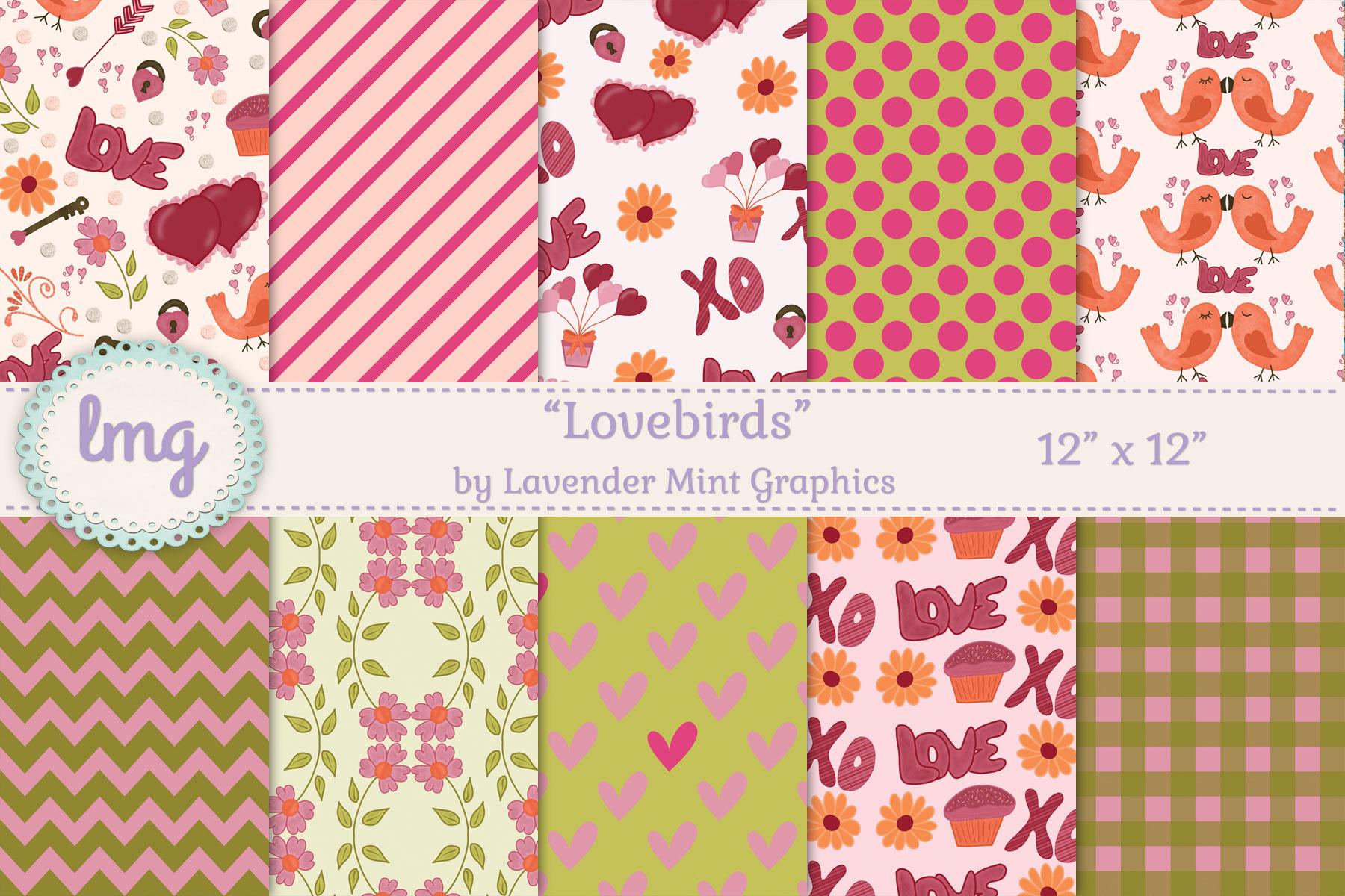 Lovebirds Valentines Day Digital Scrapbook Paper example image 1