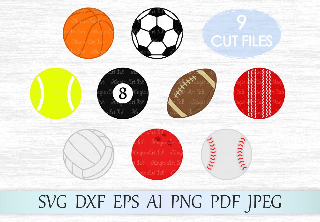 Sport SVG, Balls Clipart, Sport Balls SVG, Balls svg, Sport svg files, Football Svg, Soccer Svg, Basketball svg, Volleyball svg, Baseball Svg example image 1