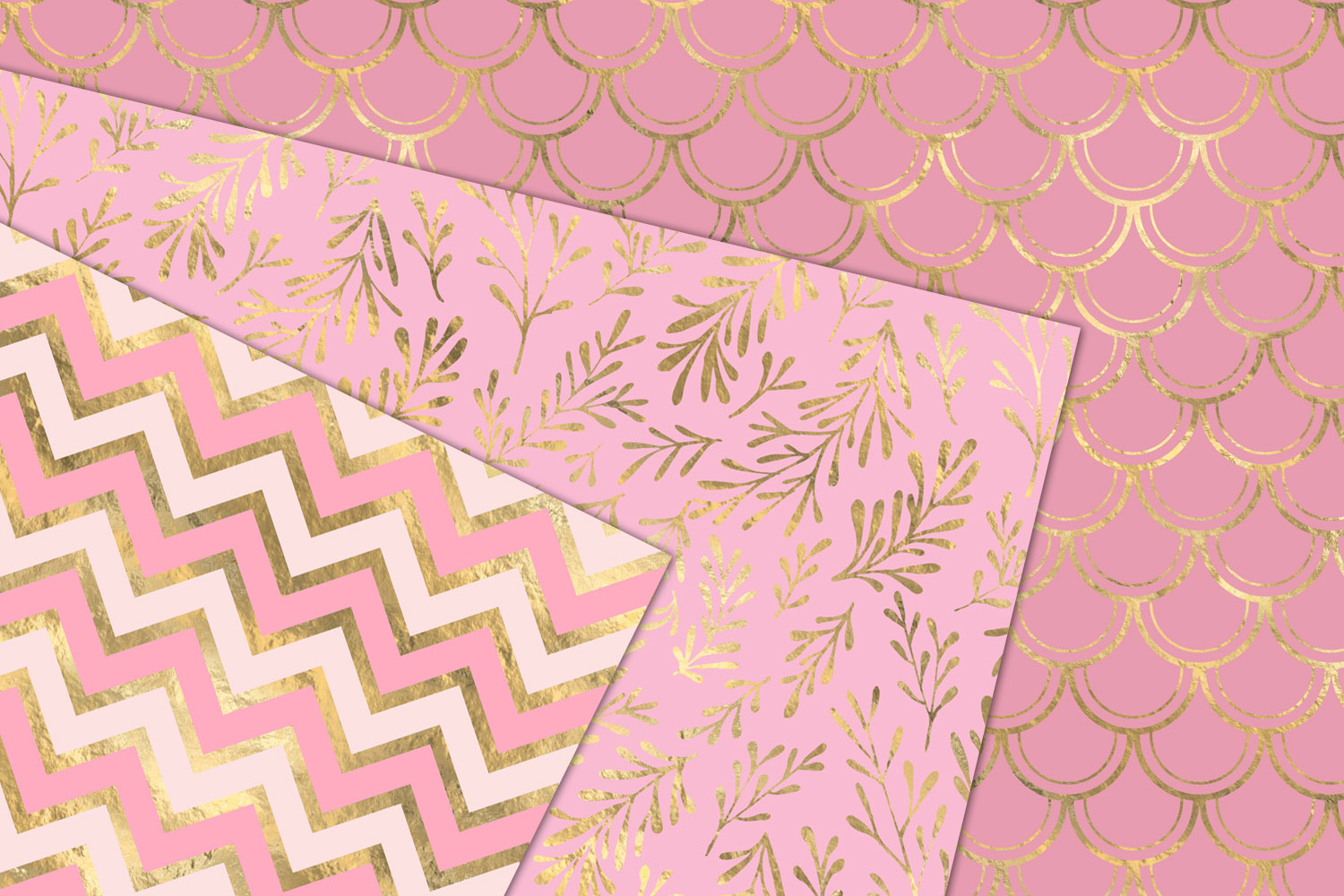 Pink and Gold Mermaid Digital Paper example image 2