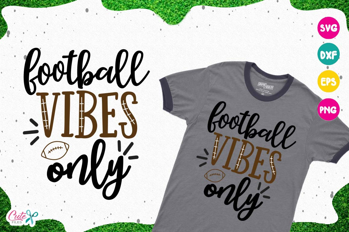 Football vibes only SVG, cut files for craftter example image 1