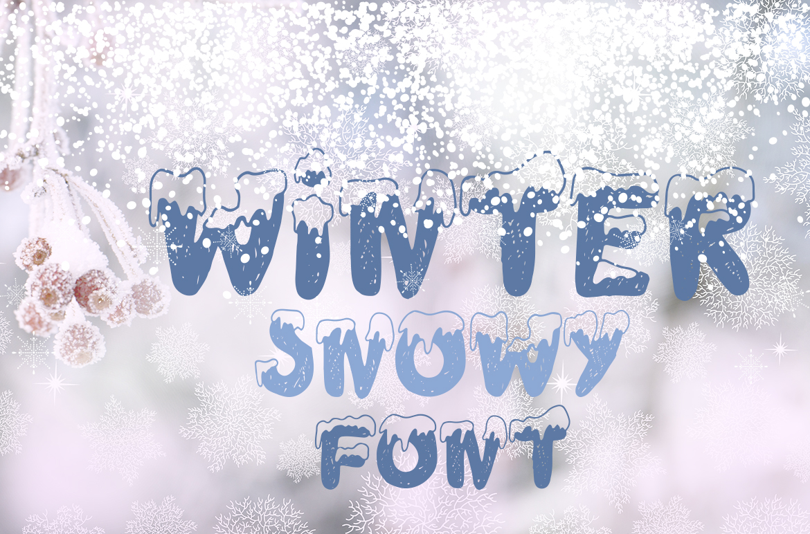 Handdrawn snowy display font example image 6
