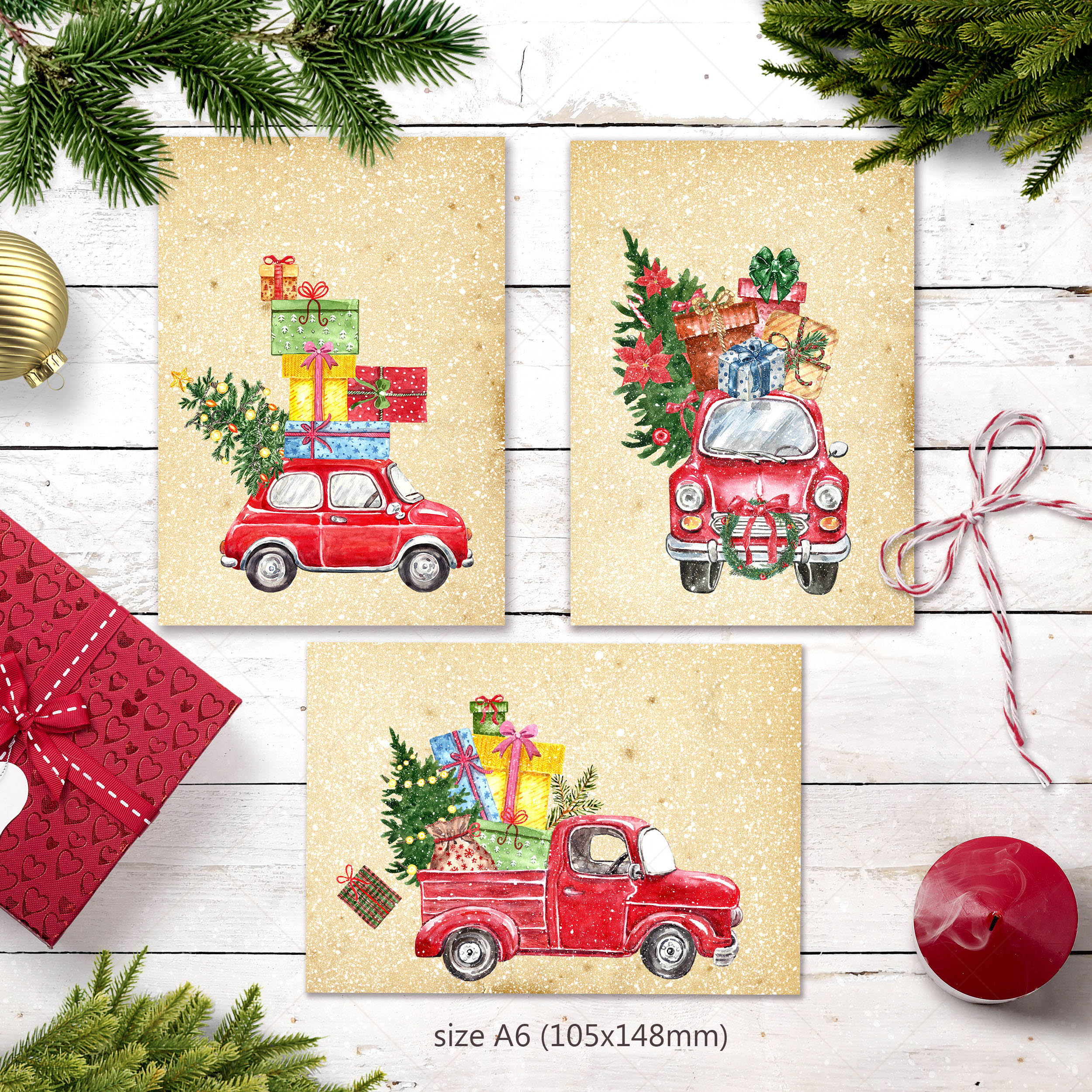 Watercolor Christmas Card Clip Art Holiday Card Set template example image 2